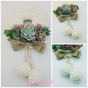 Handmade succulent boho pompom wreath